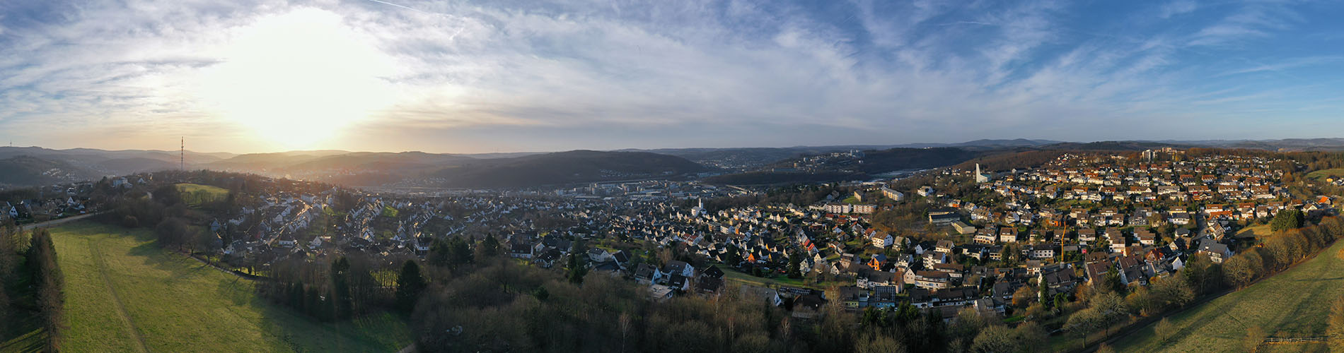 siegen germany cityscape in the winter from above with evening sun
